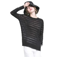 Thin Section Loose Ladies Sweater On Both Sides Of The Split Round Collar