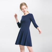 Seamless Knit Solid Color Dress Seven Sleeves Round Neck Knitted Womens Skirt