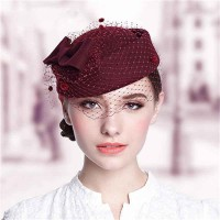 Popular bridal hat Ms. warm wool hat material elegant hat small hat autumn and winter low prices