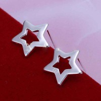 Promotions Ms. Silver Stud Earrings European market and the US market fashion star pattern earrings exquisite earrings low price discount