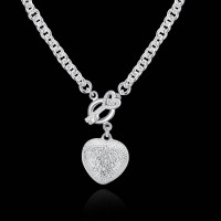 Low price selling fashion silver necklace couple pendant necklace diamond heart-shaped hot sales