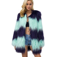 Women's Luxury Celebrity Stripe Faux Fur Coat
