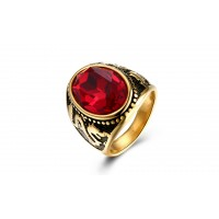 Men's Dragon Shape Stainless Steel Red Ruby Cross Ring