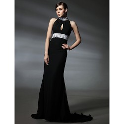 Formal Evening/Military Ball Dress- Black Plus Sizes/Petite Trumpet/Mermaid High Neck Court Train Chiffon
