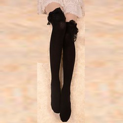 Black Lace Trim Cotton Gothic Lolita Over Knee Socks