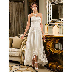 A-Line Petite/Plus Sizes Wedding Dress-White Asymmetrical Strapless Tulle