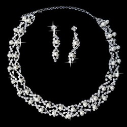 Attractive Rhinestone Silver Plating Alloy Wedding Jewelry Set