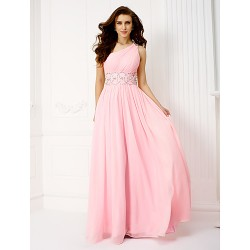 Formal Evening/Prom/Military Ball Dress- Candy Pink Plus Sizes/Petite A-Line One Shoulder Floor-Length Chiffon