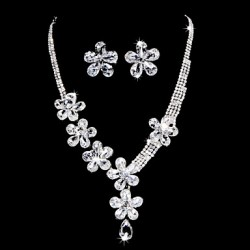 PoPUlar Alloy Silver Plated With Clear Zircon & Rhinestone Flower Wedding Bridal Necklace Earrings Jewelry Set
