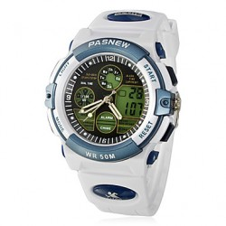 Men & #039;S Multi-Function Analog-Digital Dial Rubber Band Quartz Wrist Watch (White)