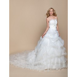 A-Line Wedding Dress- Ivory Cathedral Train Strapless Organza