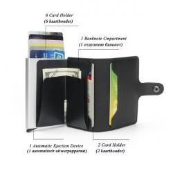 Anti-scan Leather Aluminum Case Slim RFID Blocking Wallet ID Credit Card Holder for Cash Men