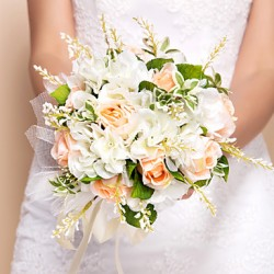 Beautiful Round Shape Silk Wedding Bouquet