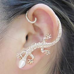 1 Piece Beautiful Zircon Alloy Gecko Pattern Earrings