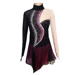 Girl & #039;S Black And Purple Spandex Figure Skating Dress(Assorted Size)
