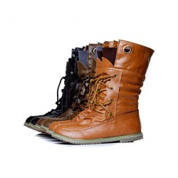 Women & #039;S Shoes Combat Boots Low Heel Mid-Calf Boots With Lace-Up More Colors Available