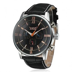 Men & #039;S Auto-Mechanical 6 Pointers Black Leather Band Wrist Watch (Assorted Colors)
