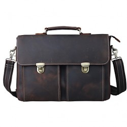 Men & #039;S Leather Business Briefcase Single Shoulder Bag ComPUter Bag Leather