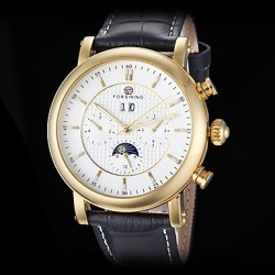 Forsining Men & #039;S Auto-Mechanical Six Pointers Gold Case Leather Band Wrist Watch (Assorted Colors)