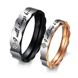 (2Pc) His And Hers I Will Always Love You Cubic You Zirconia Diamond Engagement Wedding Anniversary Titanium Band Rings