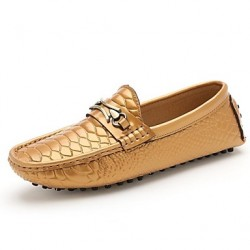Men & #039;S Shoes Casual Leather Loafers Black/White/Gold