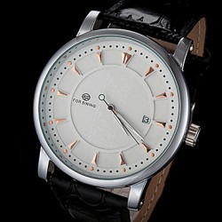 Men & #039;S Automatic Mechanical Simple Dial PU Leather Band Wrist Watch (Assorted Colors)