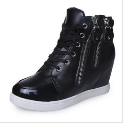Women & #039;S Shoes Leatherette Wedge Heel Round Toe/Closed Toe/Comfort Fashion Sneakers Casual Black/White