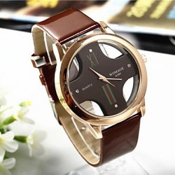PoPUlar Men & #039;S Round Cross Golden Dial Leather Band Quartz Analog Wrist Watch(Assorted Color)