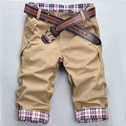 Men & #039;S Black/Beige/Brown Check Pattern Casual Cropped Pants