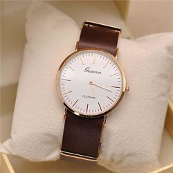Men & #039;S Leather Circular Quartz Qatch High Quality Japanese Quartz Movement Watches (Assorted Colors)