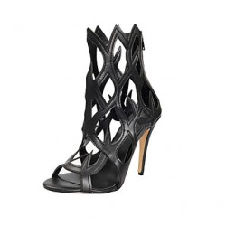 Women & #039;S Shoes Leather Stiletto Heel Black Sandals Shoes
