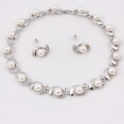 Bridal Wedding Bridesmaid Crystal Imitation Pearl Earrings Necklace Jewelry Sets