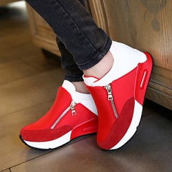 Women & #039;S Shoes Fabric Wedge Heel Comfort Round Toe Zipper Fashion Sneakers Outdoor/Casual Black/Red