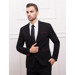Black & Burgundy Polyester Slim Fit Suit Jacket