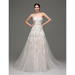 A-Line Wedding Dress- Champagne Sweep/Brush Train Sweetheart Satin/Tulle