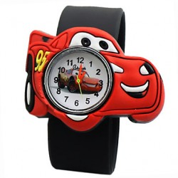 Children & #039;S Cartoon Car Pattern Silicone Quartz Analog Wrist Watch