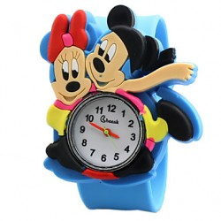 Children & #039;S Cute Cartoon Siliconemickey And Minne Pattern Lovely Digital Quartz Slap Watch