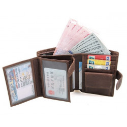RFID Blocking Genuine Leather Men Trifold Short Wallet Front Pocket Credit Card Organizer Purse with ID Window for Travel Business