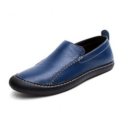 Men & #039;S Shoes Casual Leather Loafers Blue/Brown