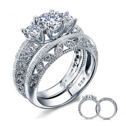 New 2017 Luxurious Wedding Bridal Sets 925 Sterling Silver White Cubic Zirconia Rings For Women