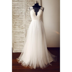A-Line Wedding Dress- Ivory Sweep/Brush Train Scoop Lace/Tulle