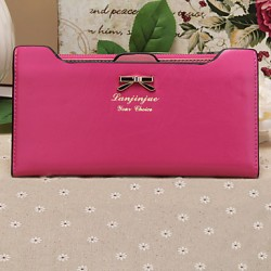 Stylish Sweet Style Butterfly Knot Metal Buckle Long Horizontal Thin Multi-Card Bit Card Package Lady Wallet