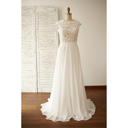 A-Line Wedding Dress- Ivory Sweep/Brush Train Jewel Chiffon/Lace