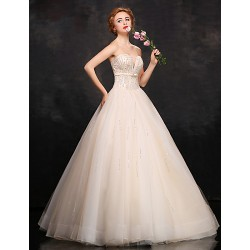 Formal Evening Dress- Champagne Ball Gown Sweetheart Floor-Length Lace/Satin/Tulle