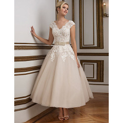 A-Line Wedding Dress- Champagne Ankle-Length V-Neck Lace/Satin/Tulle
