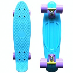 Classic Plastic Skateboard (22 Inch) Cruiser Board Pastel Blue With Purple Wheels