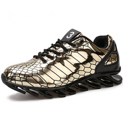 Men & #039;S Running Shoes Leather Black/Silver/Gold