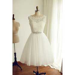 A-Line Wedding Dress- Ivory Tea-Length Bateau Lace/Tulle