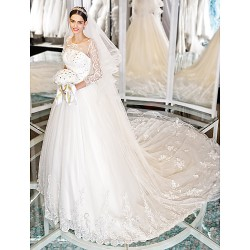 Lanting A-Line Wedding Dress-Ivory Chapel Train Scoop Lace/Tulle