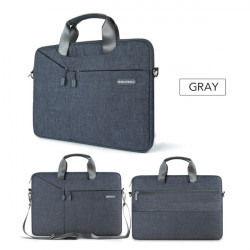 Waterproof Nylon Laptop Bag For Macbook Air Pro 11 12 13 14 15 15.6 Notebook Case Sleeve Men Women Computer Shoulder Bag Shockproof Briefcase Messenger Handbag Gray